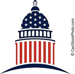 国会議事堂, ベクトル, デザイン, アメリカ人, logo., グラフィック