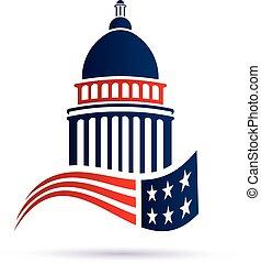 国会議事堂, ベクトル, flag., デザイン, ロゴ, アメリカ人, 建物