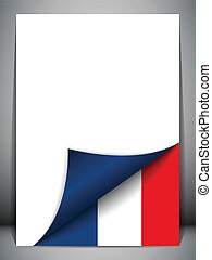 国, 旗, 回転しているページ, フランス