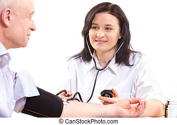 圧力, 血, 医者, 人, シニア, 測定