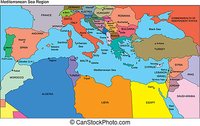 地中海国, 名前, 地域