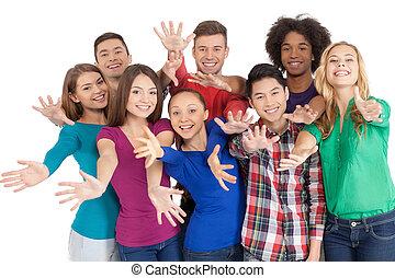 地位, グループ, us!, 人々, 参加しなさい, 若い, 隔離された, 朗らかである, 間, 他, 多民族, それぞれ, 終わり, 白, ジェスチャーで表現する