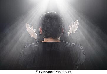 地位, 上げられた, 彼の, ∥それ∥, の上, 窓, 手, 正面図, miracle!, 後部, 人