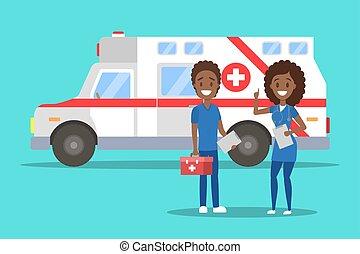 地位, 前部, 救急車, 自動車, 医者