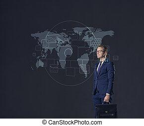 地位, 地図, briefcase., concept., ビジネス, バックグラウンド。, ビジネスマン, 世界, globalization