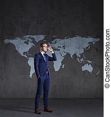 地位, 地図, concept., ビジネス, バックグラウンド。, ビジネスマン, 世界, globalization