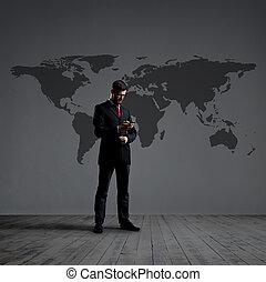 地位, 地図, concept., ビジネス, バックグラウンド。, ビジネスマン, 世界, smartphone., globalization