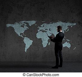 地位, 地図, tablet., concept., ビジネス, バックグラウンド。, コンピュータ, ビジネスマン, 世界, globalization