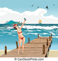 地位, 平ら, ブルネット, 古い, 桟橋, 服を着せられる, selfie., イラスト, 水着, 作り, 木製である, ビキニ, 女, ベクトル, 赤, 女の子, 浜, 漫画, smartphone., 帽子