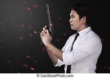地位, 手, アジア人, 銃, 彼の, 人