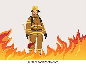 地位, 消防士, space., fire., ベクトル, イラスト, おの, midst, コピー