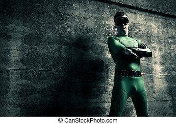 地位, 確信した, superhero, 交差する 腕