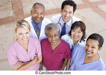 地位, 角度, 病院, 高く, 外, スタッフ, 光景