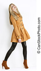 地位, 身に着けていること, 女, 靴, ブラウン, 流行, コート