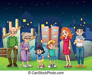 地位, 都市, 建物, 家族, 前部, 高い