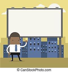 地位, billboard., 大きい, アフリカ, 前部, ビジネスマン