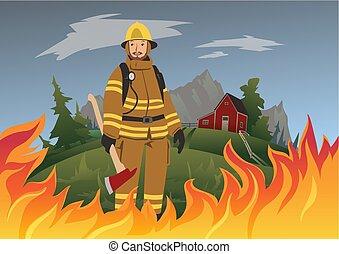 地位, illustration., 消防士, fire., ベクトル, おの, midst