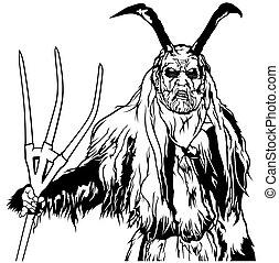 地位, satan, 保有物, 干し草用フォーク