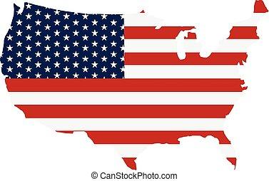 地図, アメリカ, ストライプ, 旗, 星, ロゴ