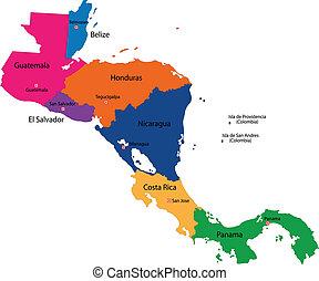 地図, アメリカ, 中央である