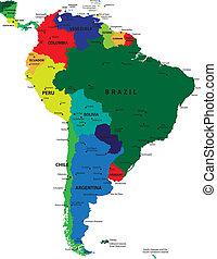 地図, アメリカ, 政治的である, 南