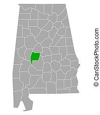 地図, アラバマ, ペリー