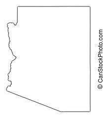 地図, アリゾナ, アウトライン, (usa)