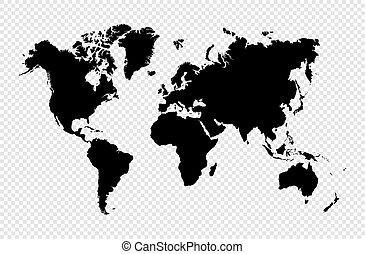 地図, シルエット, eps10, 隔離された, ベクトル, 黒, 世界, file.