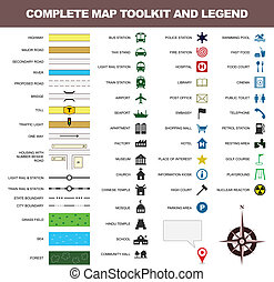 地図, シンボル, ツールキット, 印, 伝説, アイコン