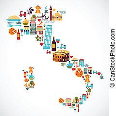 地図, ベクトル, イタリア, アイコン