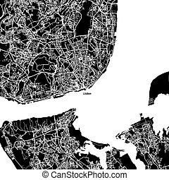 地図, ベクトル, リスボン, 区域