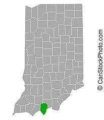 地図, ペリー, インディアナ