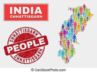 地図, 人々, 切手, chhattisgarh, ゴム, 州, シール, 人口