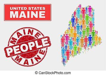 地図, 人々, 切手, textured, 州, シール, メイン, 人口