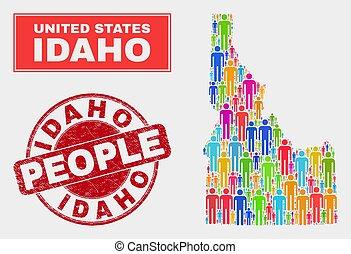地図, 人々, 州, 腐食させられた, シール, アイダホ, 人口