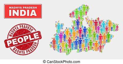 地図, 人々, madhya, ゴム, 州, シール, pradesh, 人口