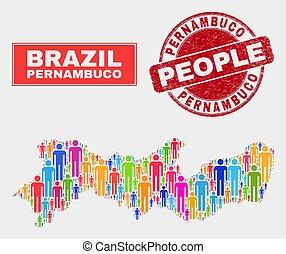 地図, 人々, textured, 州, シール, pernambuco, 人口