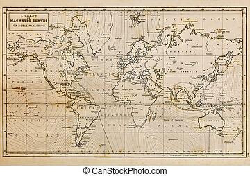 地図, 古い, 型, 手, 世界, 引かれる