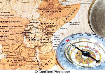 地図, 古代, 型, 旅行ディスティネーション, コンパス, タンザニア, kenya