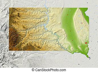 地図, 救助, サウスダコタ, 影で覆われる
