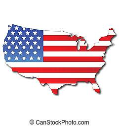 地図, 旗, アメリカ人, アメリカ