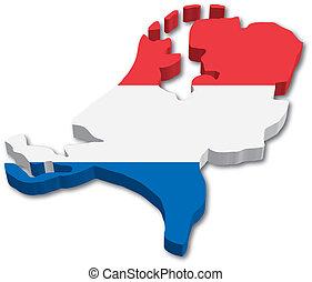 地図, 旗, オランダ, 3d