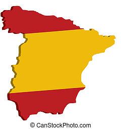 地図, 旗, スペイン