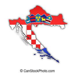 地図, 旗, croatia