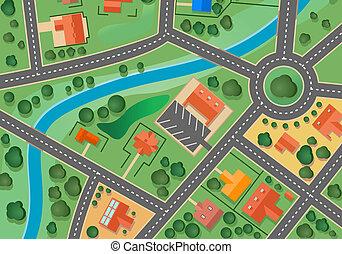 地図, 村, 郊外