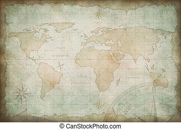地図, 検証, 古い, 冒険, 背景