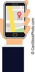 地図, app, smartphone, 手を持つ