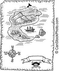 地図, hand-drawn, 宝物, illustratio