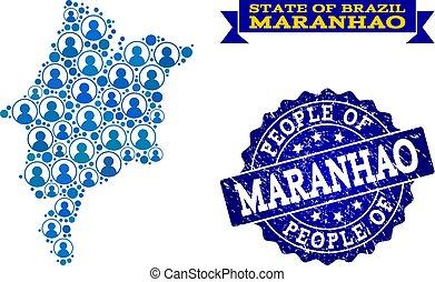 地図, maranhao, グランジ, 人々, 州, シール, 構成, モザイク