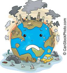地球, まさしく, 叫ぶこと, 汚染